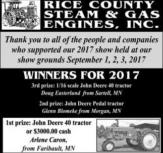 Winners for 2017