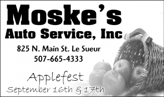 Applefest September 16th & 17th, Moske's Auto Service, Inc, Le Sueur, MN