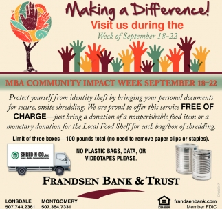 MBA Community Impact , Frandsen Bank and Trust, Lonsdale, MN