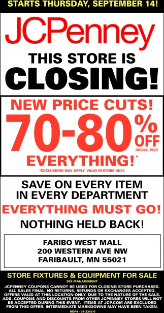 70 - 80% off everything!, JCPenney - Faribault, Plymouth, MN