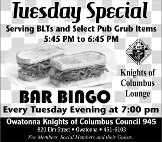 Tuesday Special, Bar Bingo