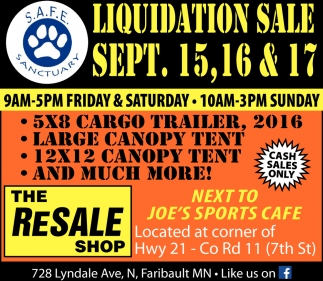 Liquidation Sale, The Resale Shop