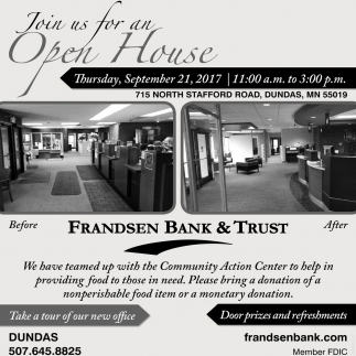 Open House, Frandsen Bank and Trust, Dundas, MN