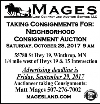 Consignment Auction, Mages Land Company and Auction Service, Winthrop, MN
