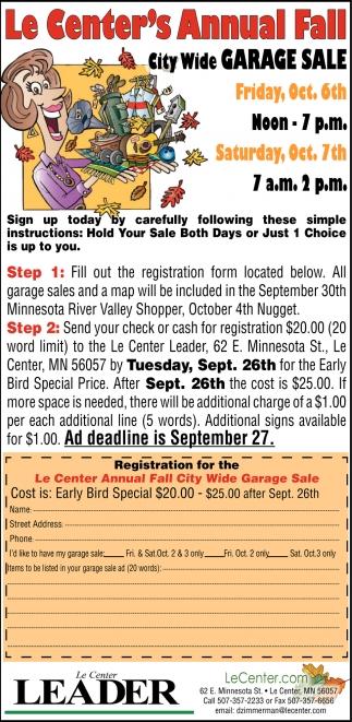 Le Center's Annual Fall City Wide Garage Sale