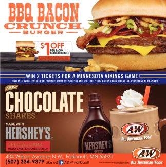 BBQ Bacon Crunch Burger, A and W Faribault, Faribault, MN