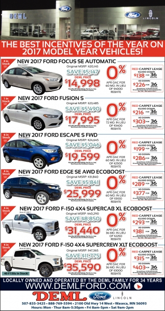 The Best Incentives of The Year on 2017 Model Year Vehicles!, DEML FORD, Waseca, MN