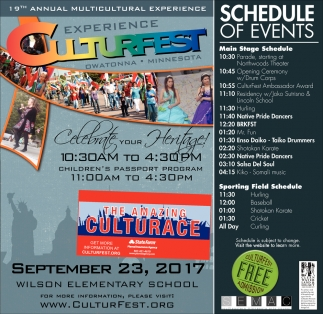 Schedule of Events, Culturfest, Owatonna, MN
