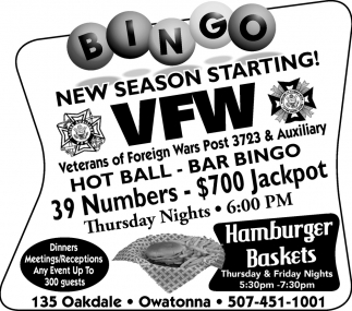 Bingo, VFW Veterans Of Foreign Wars Post 3723 and Auxiliary, Owatonna, MN