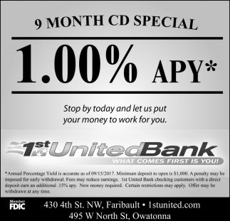 9 Month CD Special 1.00% apy*, 1st United Bank, Faribault, MN