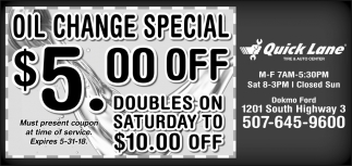 Oil Change Special $5.00 off, Quick Lane - Northfield, Northfield, MN