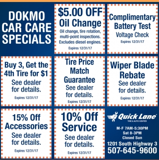 Dokmo Car Care Specials