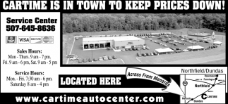 Cartime is in town to keep prices down!, Car Time Auto Center, Dundas, MN