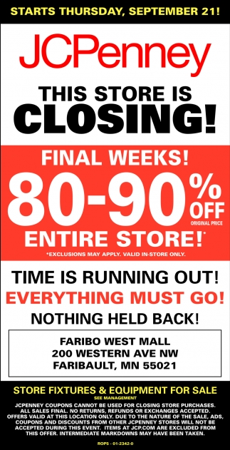 80 - 90% off entire store!, JCPenney - Faribault, Plymouth, MN
