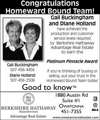 Homeward Bound Team, Berkshire Hathaway, Owatonna, MN