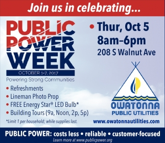 Public Power Week, Owatonna Public Utilities, Owatonna, MN