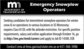 Emergency Snowplow Operators, Minnesota Department of Transportation, Waseca, MN