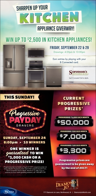 Sharpen Up Your Kitchen Aplliaance Giveaway!, Diamond Jo, Northwood, IA