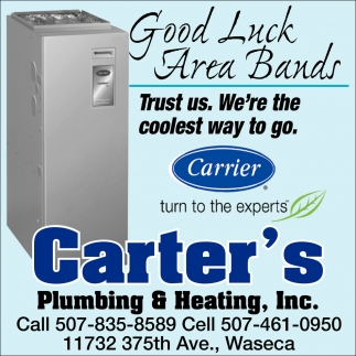 Good Luck Area Bands, Carter's Plumbing and Heating, Inc, Waseca, MN