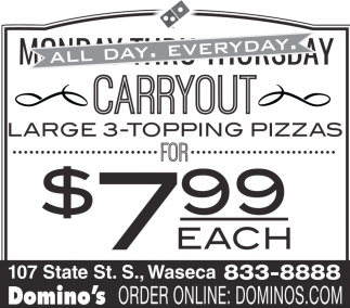 Carryout Large 3 Topping pizzas