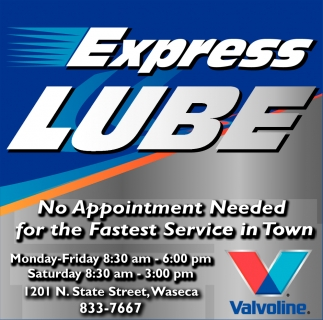 No Appointment Needed for the Fastest Service in Town, Express Lube, Waseca, MN
