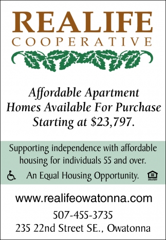 Affordable Apartment Homes Available For Purchase Starting at $23,797, Realife Cooperative, Owatonna, MN