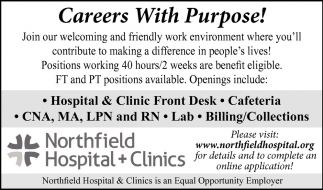 Employment Opportunities, Northfield Hospital and Clinics, Northfield, MN