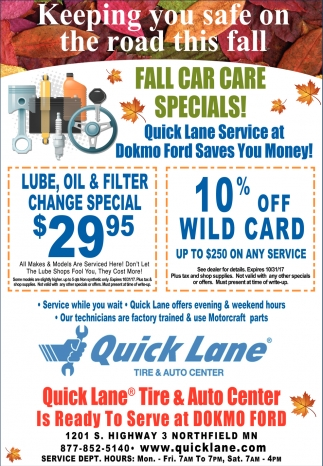 Fall Car Care Specials!, Quick Lane - Northfield, Northfield, MN