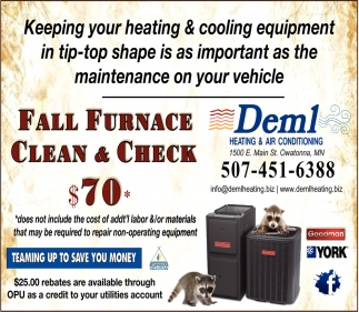 Fall Furnace Clean & Check $70, Deml Heating and Air Conditioning, Owatonna, MN