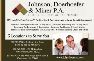 Certified Public Accountants, Johnson, Doerhoefer and Miner, Blooming Prairie, MN