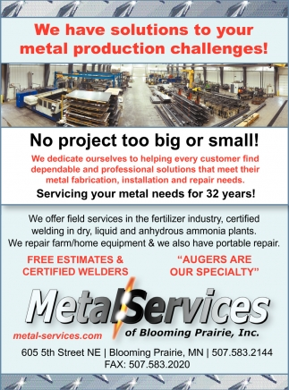 We have solutions to your metal production challenges!, Metal Services of Blooming Prairie, Blooming Prairie, MN