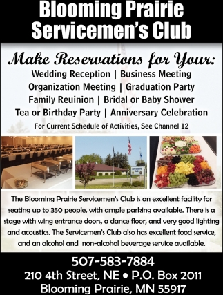 Make Reservations, Blooming Prairie Servicemen's Club, Blooming Prairie, MN