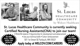 Certified Nursing Assistants Cna St Lucas Healthcare Community