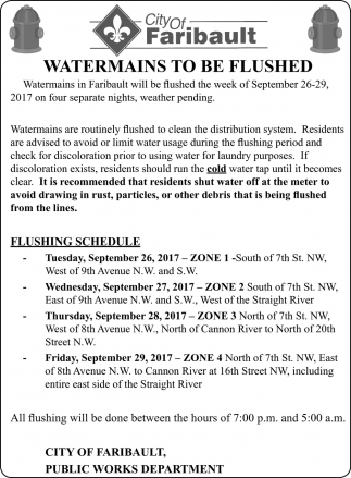 Watermains to be Flushed