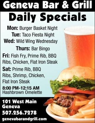 Daily Specials, Geneva Bar and Grill, Geneva, MN