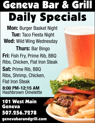 Daily Specials, Geneva Bar and Grill, Geneva, MN