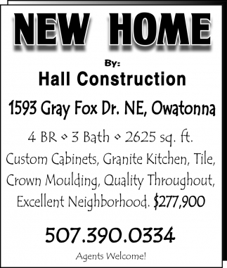 New Home Owatonna, Hall Construction - New Home