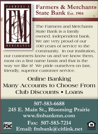 Online Banking, Farmers & Merchants State Bank