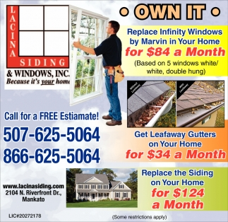 Call for a free estimate, Lacina Siding and Windows Inc, Mankato, MN