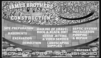Basements, Excavation, Demolition,Septic System, James Brothers Construction Inc, Elysian, MN