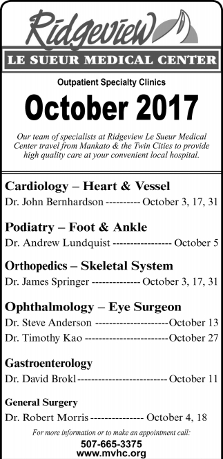 Outpatient Specialty Clinics October 2017