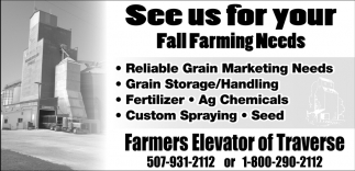 See us for your Fall Farming Needs, Farmers Elevator of Traverse, St. Peter, MN