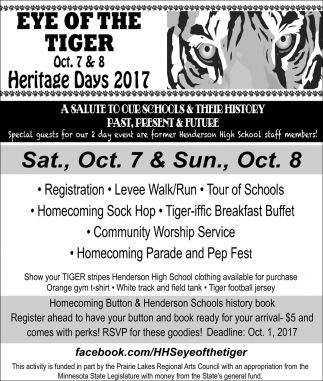 Oct. 7 & 8 Heritage Days 2017, Eye of the Tiger
