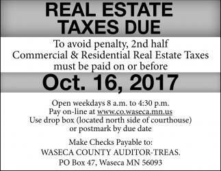 Real Estate Taxes Due