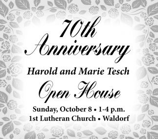 70th Anniversary, Harold and Marie Tesch