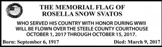 Memorial Flag of Rosella Snow Svatos