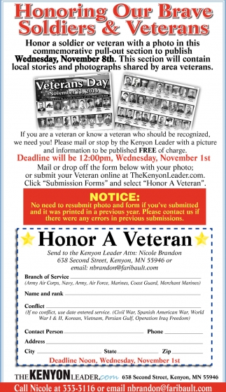 Honoring Our Brave Soldiers & Veterans, The Kenyon Leader, Faribault, MN