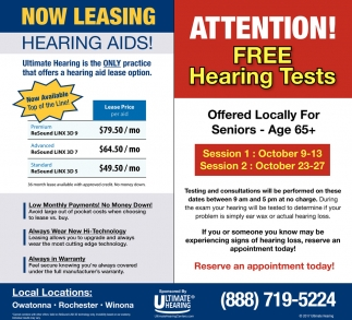 FREE Hearing Tests, Ultimate Hearing, Fairmont, MN