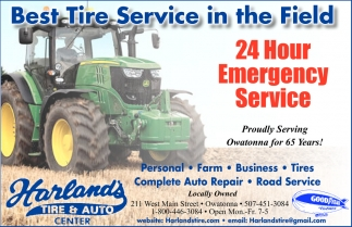 24 Hour Emergency Service, Harland's Tire and Auto Center, Owatonna, MN