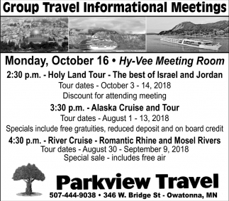 Group Travel Informational Meetings, Parkview Travel